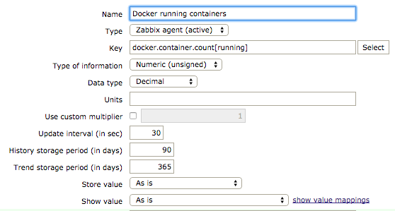 Number of running containers item